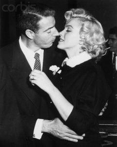 Marilyn Monroe and Joe DiMaggio on their wedding day