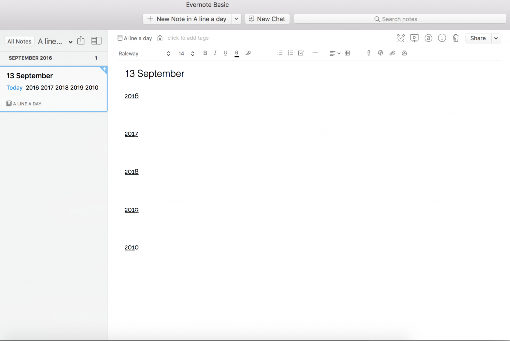 megg.me a line a day journal on evernote