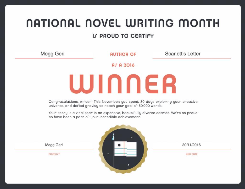 nanowrimo 2016 winner certificate