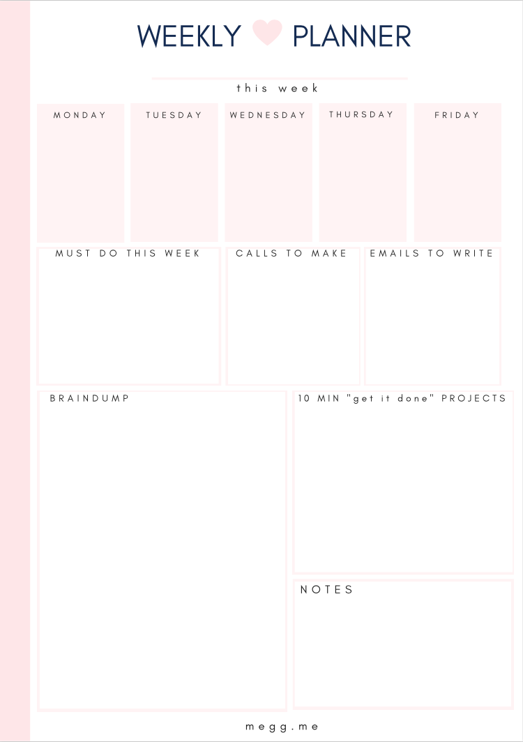 weekly planner free worksheet